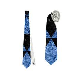 Triangle3 Black Marble & Blue Marble Necktie (two Side) by trendistuff
