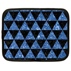 Triangle3 Black Marble & Blue Marble Netbook Case (large) by trendistuff