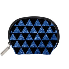 Triangle3 Black Marble & Blue Marble Accessory Pouch (small) by trendistuff