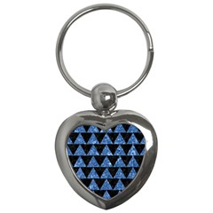 Triangle2 Black Marble & Blue Marble Key Chain (heart) by trendistuff