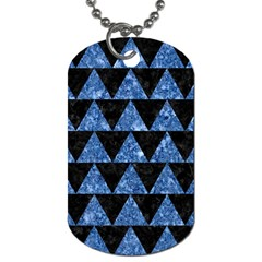 Triangle2 Black Marble & Blue Marble Dog Tag (one Side) by trendistuff