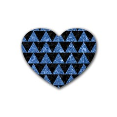 Triangle2 Black Marble & Blue Marble Rubber Heart Coaster (4 Pack) by trendistuff