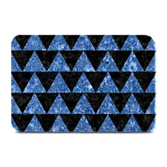 Triangle2 Black Marble & Blue Marble Plate Mat by trendistuff