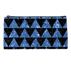 Triangle2 Black Marble & Blue Marble Pencil Case by trendistuff