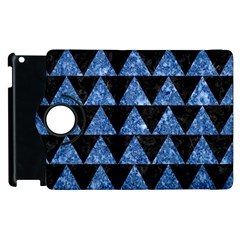 Triangle2 Black Marble & Blue Marble Apple Ipad 3/4 Flip 360 Case by trendistuff