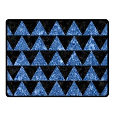 Triangle2 Black Marble & Blue Marble Double Sided Fleece Blanket (small) by trendistuff