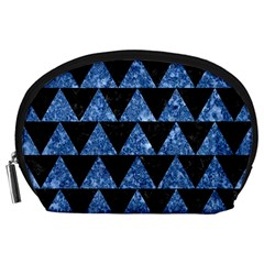 Triangle2 Black Marble & Blue Marble Accessory Pouch (large)