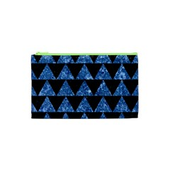 Triangle2 Black Marble & Blue Marble Cosmetic Bag (xs)