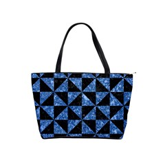 Triangle1 Black Marble & Blue Marble Classic Shoulder Handbag by trendistuff