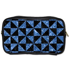 Triangle1 Black Marble & Blue Marble Toiletries Bag (two Sides) by trendistuff