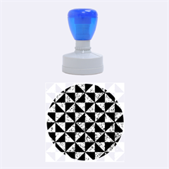 Triangle1 Black Marble & Blue Marble Rubber Stamp Round (medium)