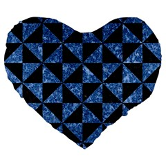 Triangle1 Black Marble & Blue Marble Large 19  Premium Flano Heart Shape Cushion by trendistuff