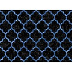 TILE1 BLACK MARBLE & BLUE MARBLE (R) Circle 3D Greeting Card (7x5) Back