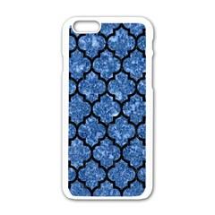 Tile1 Black Marble & Blue Marble Apple Iphone 6/6s White Enamel Case by trendistuff