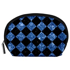 Square2 Black Marble & Blue Marble Accessory Pouch (large)