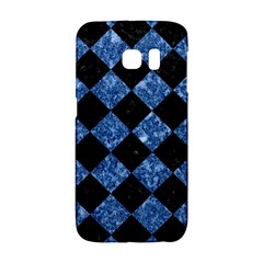 Square2 Black Marble & Blue Marble Samsung Galaxy S6 Edge Hardshell Case by trendistuff