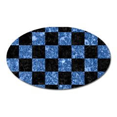 Square1 Black Marble & Blue Marble Magnet (oval) by trendistuff
