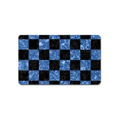 Square1 Black Marble & Blue Marble Magnet (name Card) by trendistuff