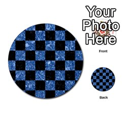 Square1 Black Marble & Blue Marble Multi Purpose Cards (round)