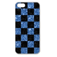 Square1 Black Marble & Blue Marble Apple Seamless Iphone 5 Case (clear) by trendistuff