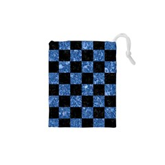 Square1 Black Marble & Blue Marble Drawstring Pouch (xs) by trendistuff
