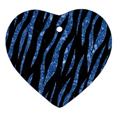 Skin3 Black Marble & Blue Marble (r) Ornament (heart) by trendistuff