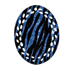 Skin3 Black Marble & Blue Marble (r) Oval Filigree Ornament (two Sides) by trendistuff