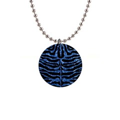 Skin2 Black Marble & Blue Marble (r) 1  Button Necklace by trendistuff