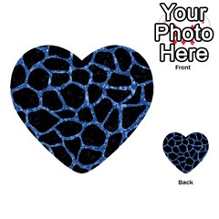 Skin1 Black Marble & Blue Marble Multi Purpose Cards (heart) by trendistuff
