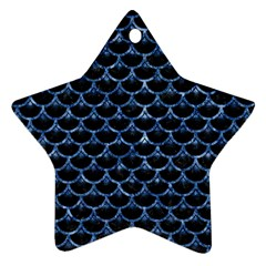 Scales3 Black Marble & Blue Marble (r) Star Ornament (two Sides) by trendistuff