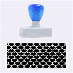 Scales3 Black Marble & Blue Marble (r) Rubber Stamp (large)