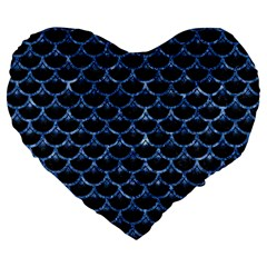 Scales3 Black Marble & Blue Marble (r) Large 19  Premium Flano Heart Shape Cushion