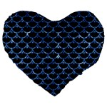 SCALES3 BLACK MARBLE & BLUE MARBLE (R) Large 19  Premium Flano Heart Shape Cushion Front