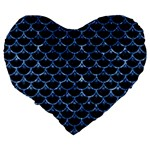 SCALES3 BLACK MARBLE & BLUE MARBLE (R) Large 19  Premium Flano Heart Shape Cushion Back