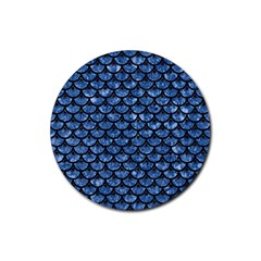 Scales3 Black Marble & Blue Marble Rubber Round Coaster (4 Pack) by trendistuff