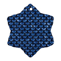 Scales3 Black Marble & Blue Marble Snowflake Ornament (two Sides) by trendistuff