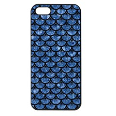 Scales3 Black Marble & Blue Marble Apple Iphone 5 Seamless Case (black) by trendistuff