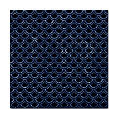 Scales2 Black Marble & Blue Marble (r) Tile Coaster