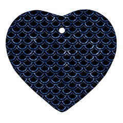 Scales2 Black Marble & Blue Marble (r) Ornament (heart) by trendistuff