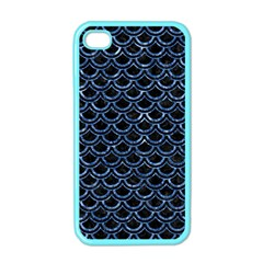 Scales2 Black Marble & Blue Marble (r) Apple Iphone 4 Case (color)
