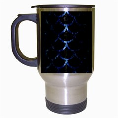 Scales1 Black Marble & Blue Marble (r) Travel Mug (silver Gray) by trendistuff