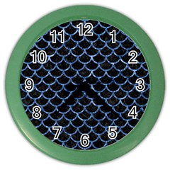 Scales1 Black Marble & Blue Marble (r) Color Wall Clock by trendistuff