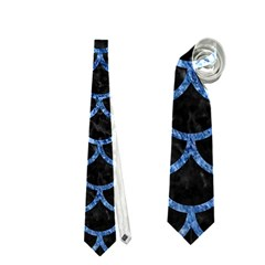 Scales1 Black Marble & Blue Marble (r) Necktie (one Side)