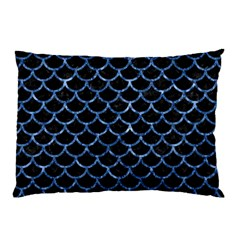 Scales1 Black Marble & Blue Marble (r) Pillow Case by trendistuff