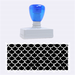 Scales1 Black Marble & Blue Marble (r) Rubber Stamp (large)