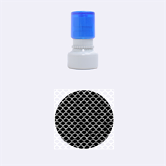 Scales1 Black Marble & Blue Marble (r) Rubber Stamp Round (small) by trendistuff