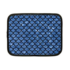 Scales1 Black Marble & Blue Marble Netbook Case (small) by trendistuff