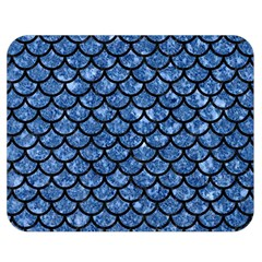 Scales1 Black Marble & Blue Marble Double Sided Flano Blanket (medium) by trendistuff
