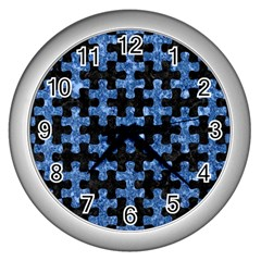 Puzzle1 Black Marble & Blue Marble Wall Clock (silver) by trendistuff