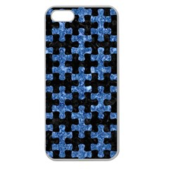 Puzzle1 Black Marble & Blue Marble Apple Seamless Iphone 5 Case (clear) by trendistuff